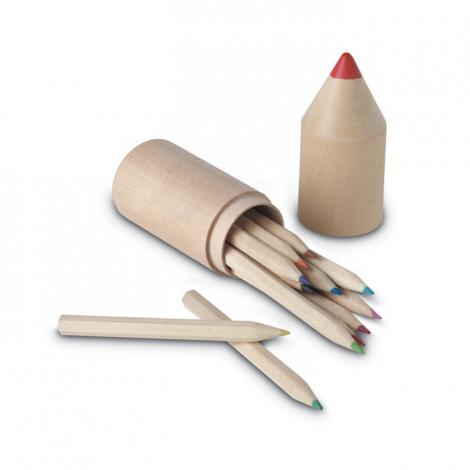 Tube en bois 12 crayons de couleur personnalisé - Coloret
