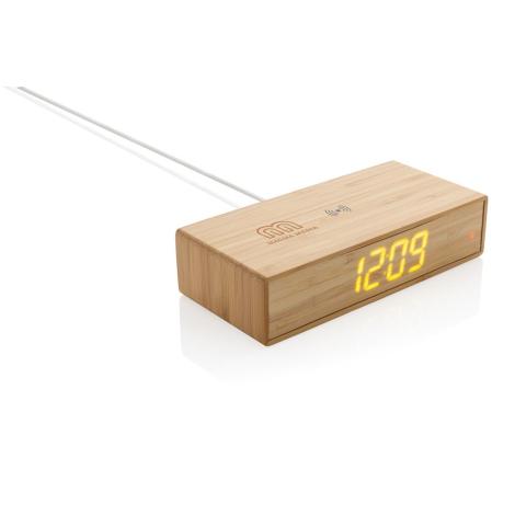 Réveil en bambou personnalisé chargeur sans fil 5W