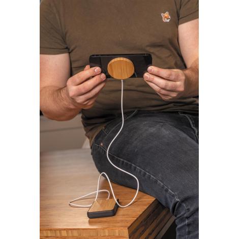 Chargeur publicitaire magnétique sans fil en bambou 10W
