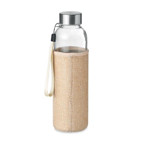 Bouteille 500 ml avec housse en jute publicitaire UTAH TOUCH