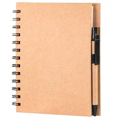 Cahier A5 publicitaire en carton avec stylo kraft