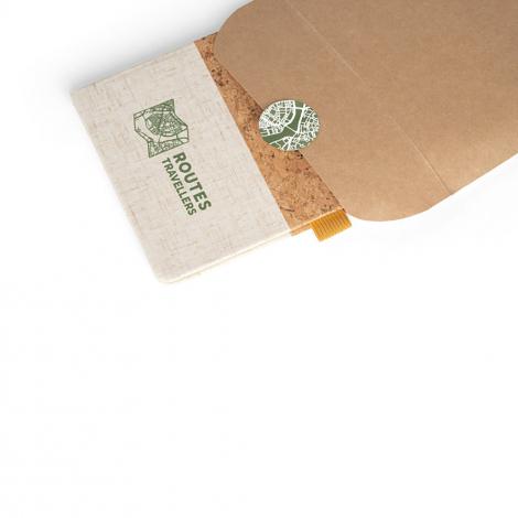 Carnet A5 en liège et lin publicitaire KLEE
