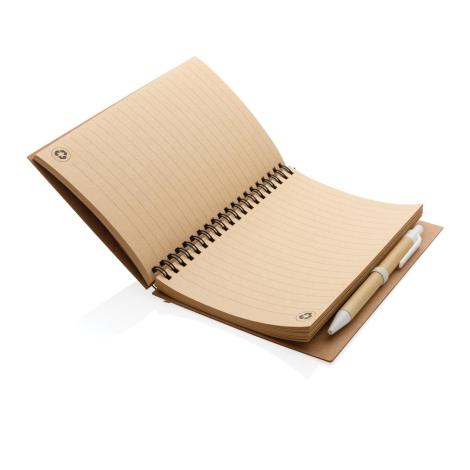 Cahier à spirales kraft publicitaire avec stylo