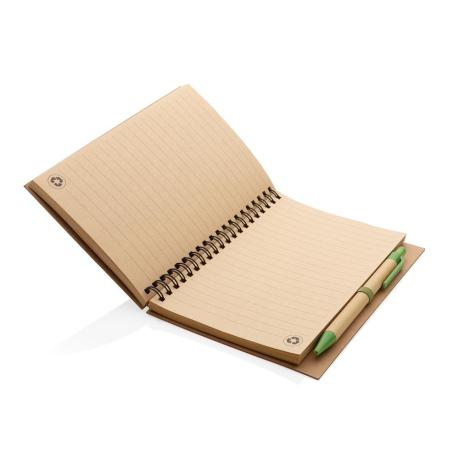Cahier à spirales en liège publicitaire avec stylo