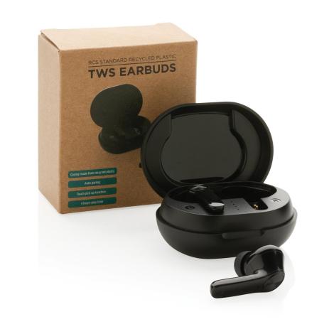 Oreillettes audio en plastique recyclé publicitaire